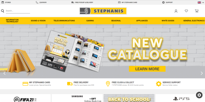 Screengrab of the Stephanis website, built on the SiteViz Commerce CMS platform by Global Reach