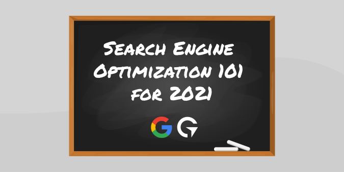 A graphic of a chalkboard with SEO Optimization 101 by Global Reach