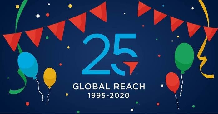 Illustration of the Global Reach Logo with the number 25 to celebrate 25 years of business.
