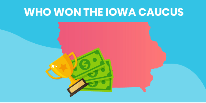 Image of Iowa, a trophy, and money