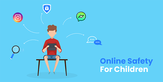 Illustration of a child online and text about online safety for children, By Global Reach
