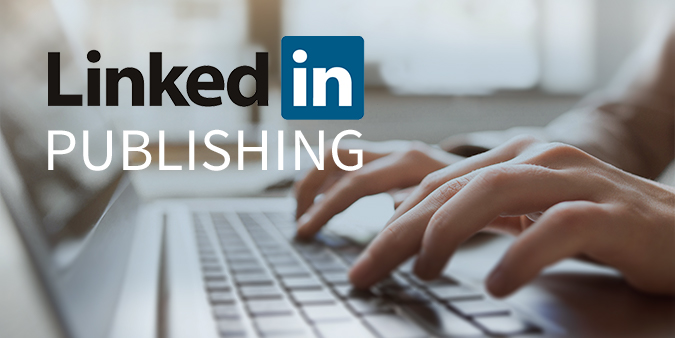 Image of a person typing in the computer and Linkedin Publishing