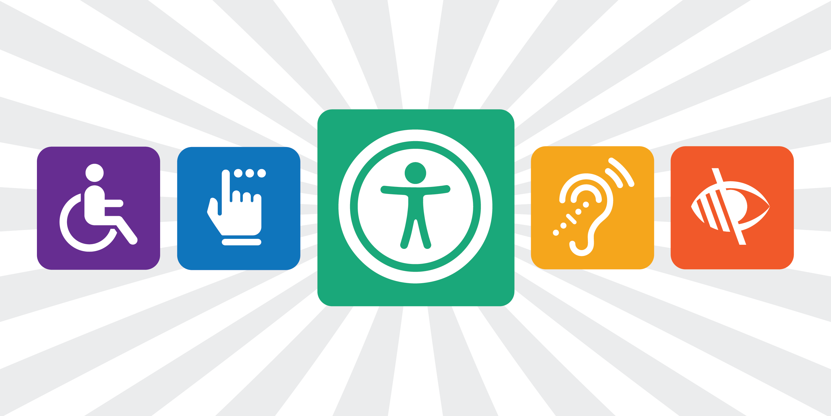 Collage of icons representing web accessibility.